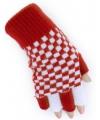 Vingerloze handschoen rood wit geblokt