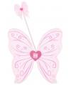 Vleugels en staf set roze zilver