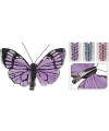 Vlinder op clip 6 stuks blauw