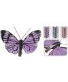 Vlinder op clip 6 stuks paars