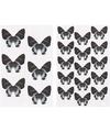 Vlinder stickers zwart 4 vellen