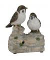Vogel tuinbeeldje musjes met geluid 11 cm