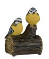 Vogel tuinbeeldje pimpelmeesjes met geluid 11 cm