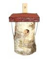 Vogelhuisje rond natuur echt 20 cm