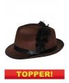 Voordelige bruine kojak hoed met zwarte veer