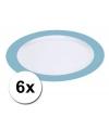 Voordelige platte plastic borden blauw 6 stuks