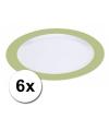 Voordelige platte plastic borden groen 6 stuks