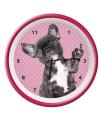 Wandklok franse bulldog roze 25 cm