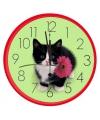 Wandklok kat rood 25 cm