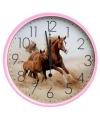 Wandklok paard roze 25 cm