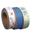 Washi tape set 3 rollen bloemenprint groen