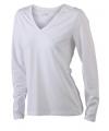 Wit dames v hals shirt lange mouw