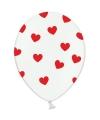 Witte ballonnen met hartjes rood 6 stuks