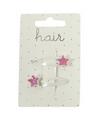 Witte haarspeldjes met roze sterren 2 stuks