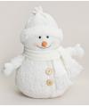 Witte sneeuwpop met muts 28 cm