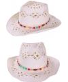 Witte zomer hoed met kralenbandje