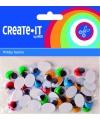 Zelfklevende wiebelogen met gekleurde wimper 40 stuks