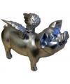 Zilver spaarvarken met vleugels 25 cm