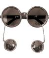 Zilveren disco bril met discoballen