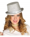 Zilveren glitter hoge hoed voor volwassenen