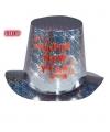 Zilveren hoge hoed happy new year