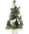 Zilveren kerstboom met deco 40 cm