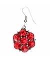 Zilveren oorbellen met rode steentjes chunk