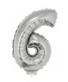 Zilveren opblaas cijfer 6 op stokje 41 cm