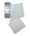 Zilveren organza stof op rol 12 x 300 cm
