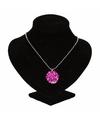 Zilveren prinsessen medaillon roze bloem voor volwassenen