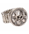 Zilveren ring met doodshoofd chunk