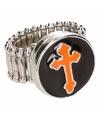Zilveren ring met oranje kruis chunk