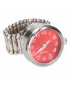 Zilveren ring met rode klok chunk