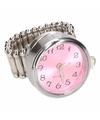 Zilveren ring met roze klok chunk