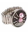 Zilveren ring met roze spin chunk