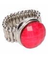 Zilveren ring met roze steen chunk