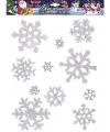 Zilveren sneeuwvlok raamstickers 11 stuks