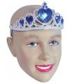 Zilveren tiara met blauwe stenen