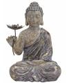 Zittende boeddha beeld met bloem 48 cm