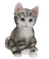 Zittende katten beeldje grijs 19 cm