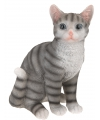 Zittende katten beeldje grijs 29 cm