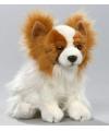 Zittende pluche knuffel papillon hond 27 cm