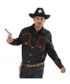 Zwart cowboy shirt met rode glitters