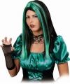 Zwart met groene pruik lang haar