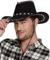 Zwarte cowboyhoed elroy lederlook voor volwassenen