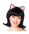 Zwarte damespruik met poezen kattenoren
