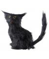 Zwarte decoratie kat 12 cm
