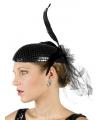 Zwarte jaren twintig hoed met pailletten