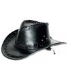 Zwarte lederlook cowboyhoed