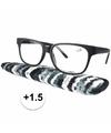 Zwarte leesbril 1 5 met stoffen hoesje